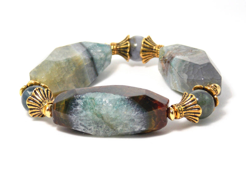 Large Gray Green Agate And Jasper Stone Gold Plated Beaded Statement Bracelet