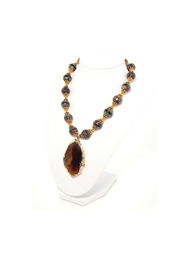 Brown Agate Gold Plated Pendant Statement Necklace - KMagnifiqueDesigns
