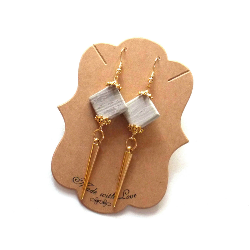 Gray Stone Gold Spike Dangle Statement Earrings Clip On Optional