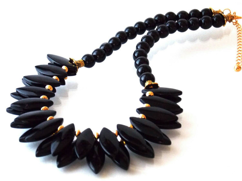 Black Agate Glass Spike Gold Bib Statement Necklace by KMagnifiqueDesigns