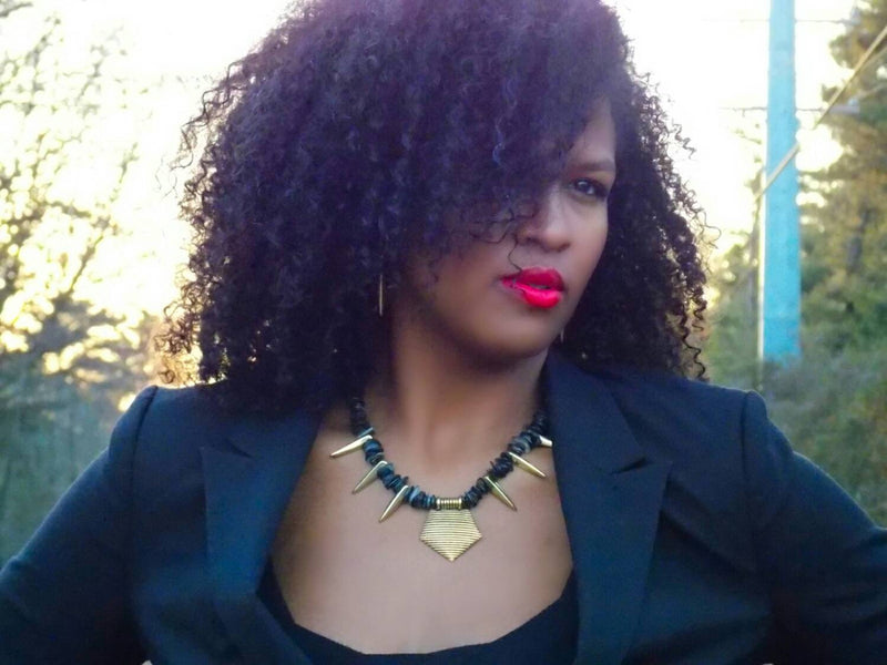 Black Mother Of Pearl Gold Spike Pendant Statement Necklace - KMagnifiqueDesigns