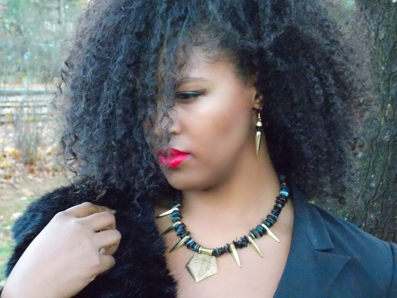 Black Mother Of Pearl Shell Gold Spike Dangle Earrings by KMagnifiqueDesigns