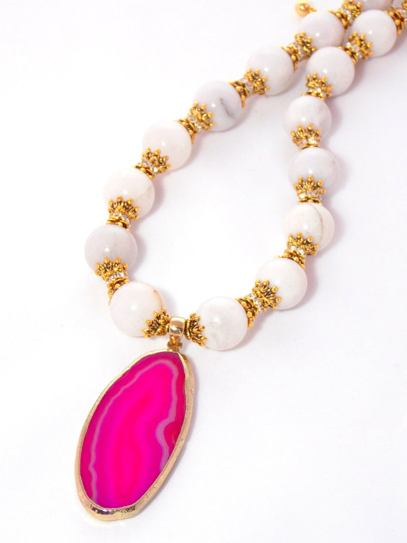 Pink Agate & White Quartz Gold Crystal Pendant Necklace - KMagnifiqueDesigns