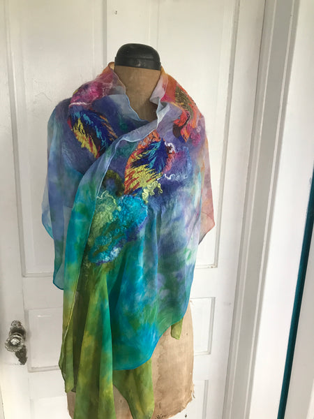 Felted Scarf, Silk/Wool, 'Carnival in Rio'