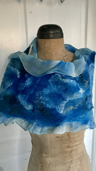 Felted Shawl, Silk/Wool, 'Coastal Shore'
