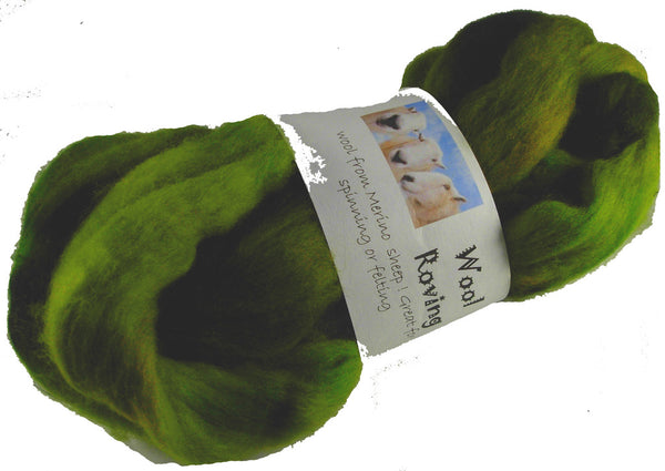 Merino or Blue Faced Leicester Roving, Grassy Green
