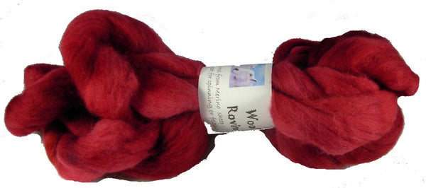Merino or Blue Faced Leicester Roving, Red