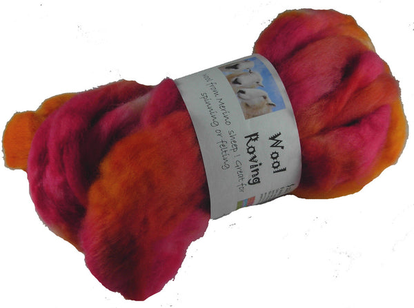 Corriedale Wool Roving, Sherbet