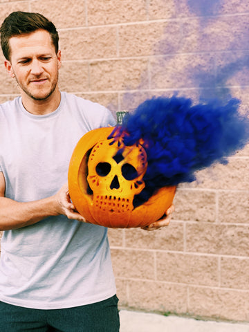 Smoking pumpkin with smoke grenade