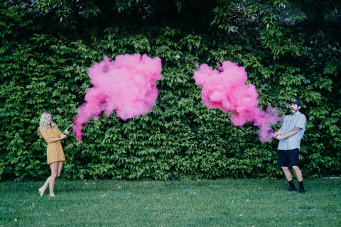 Pink and blue powder cannons for gender reveal