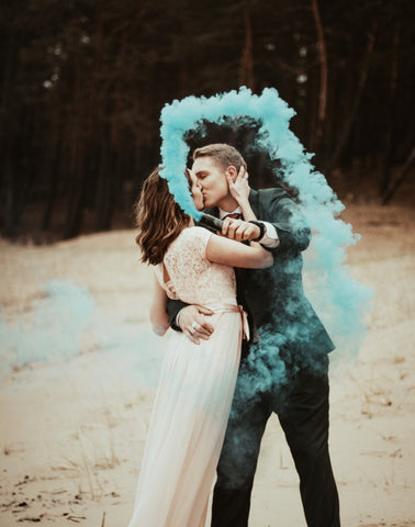 Smoke Bomb Grenade Photography for Wedding Event