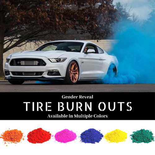 gender reveal tire burn out powder car truck baby reveal