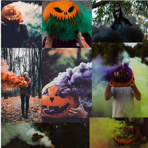 halloween smoke bombs white green black orange yellow purple