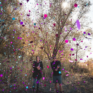 Gender Reveal Confetti Cannon Roulette - Pink+Blue+Silver