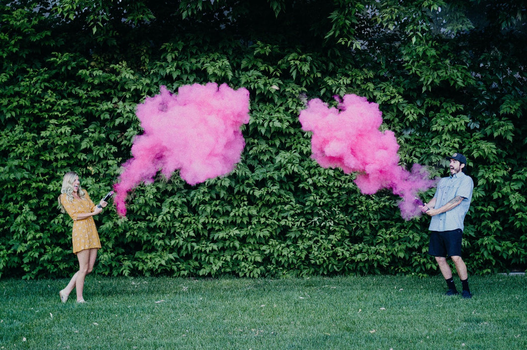 pink gender reveal smoke powder cannon