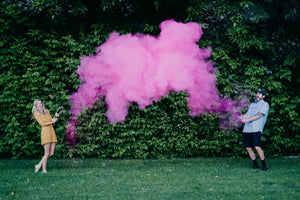 gender reveal ideas powder cannon blue pink