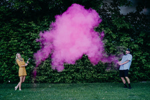 pink powder smoke cannon gender reveal idea