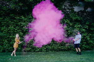pink smoke cannon gender reveal confetti