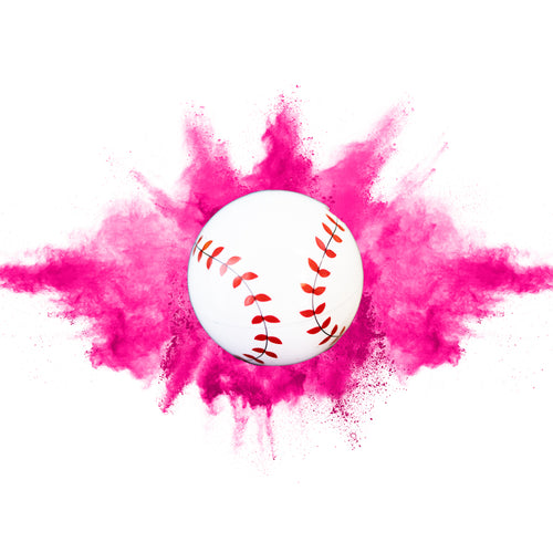 pink baseball gender reveal powder smoke