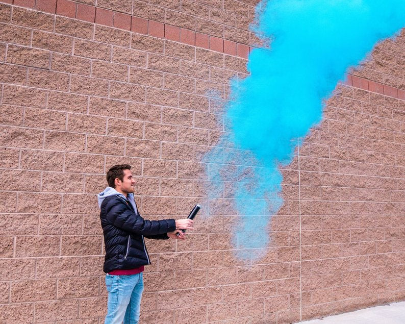 gender reveal smoke powder cannon blue