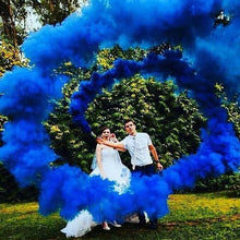 Load image into Gallery viewer, gender reveal smoke bombs pull ring blue
