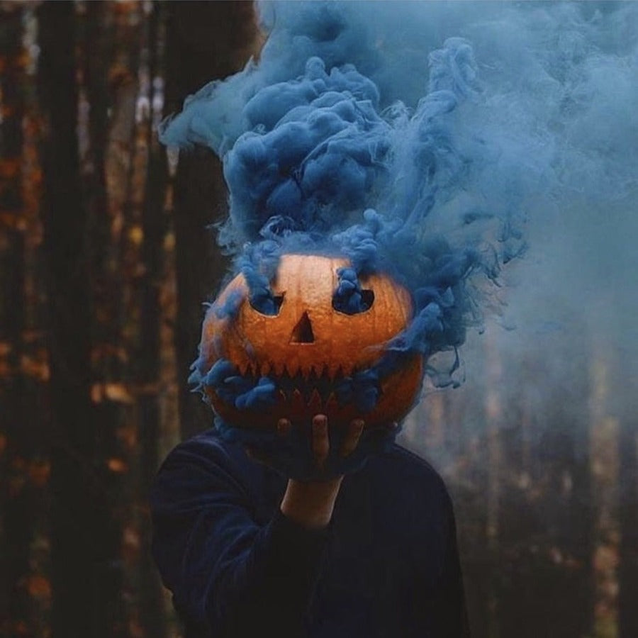 blue smoke bomb pumpkin