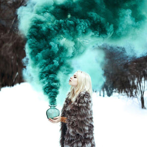 teal smoke bomb winter snow christmas photoshoot