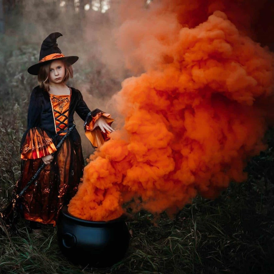 orange smoke bomb halloween photography idea