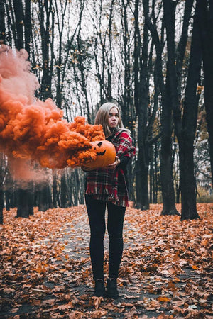 halloween pumpkin orange smoke bomb photography