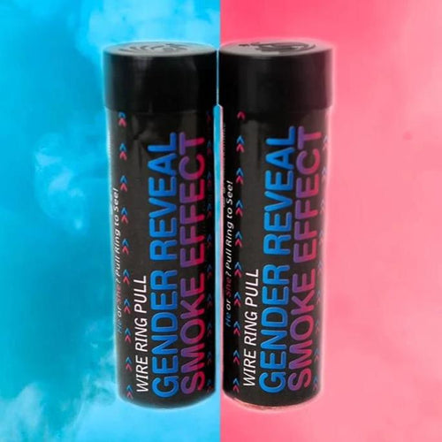 2 Pack Gender Reveal Smoke Bombs [Pink & Blue] Wire Ring Pull (90 Sec) Discreet Label
