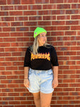 Crop Flames Tee Black