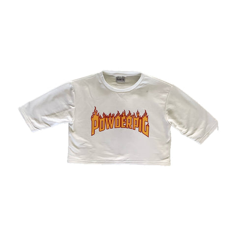 Crop Flames Tee White