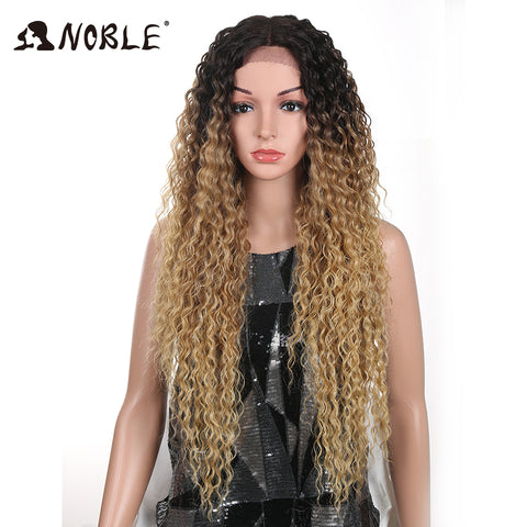Noble Hair Kinky Curly Glueless High Temperature Fiber Hair 32 Inch Natural Blonde  Synthetic Lace Front Wigs For Black Women