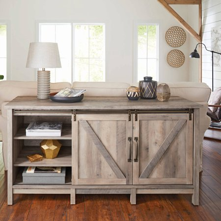 "Better Homes & Gardens Modern Farmhouse TV Stand for TVs up to 70"", Rustic Gray Finish"