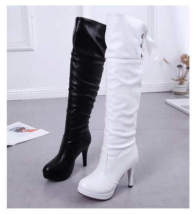 Soft Faux Leather Over Knee High Heels Boots - Wish Tricks