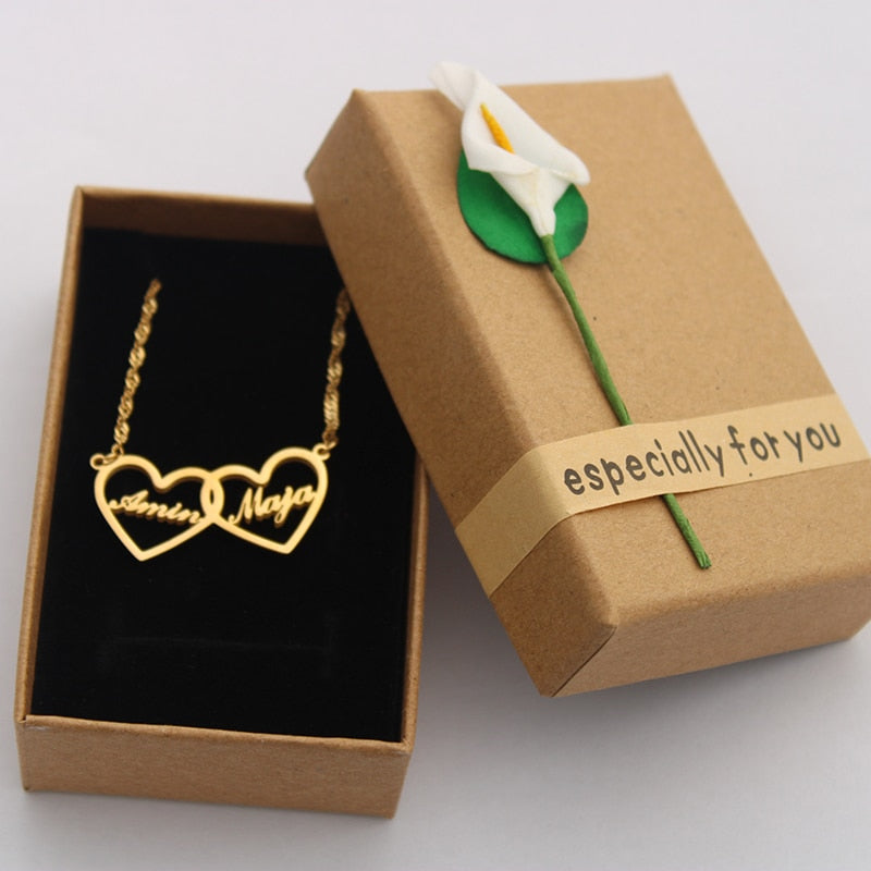 Customized Double Heart Necklace - Wish Tricks