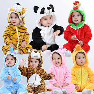 Toddler Baby Boys/ Girls Cartoon Hooded Rompers Outfits Clothes - Wish Tricks