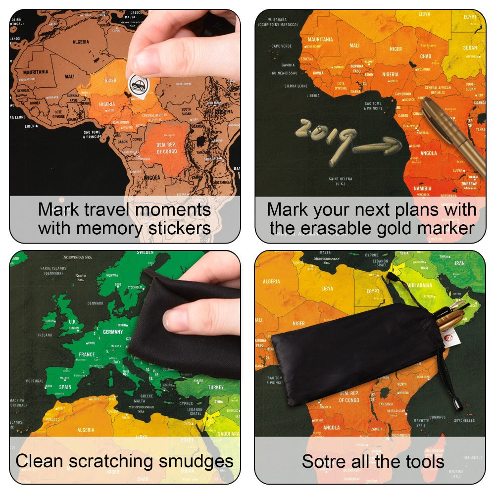 Deluxe Scratch-Off World Map - Wish Tricks
