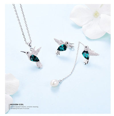 Sterling Silver Embellished with Swarovski Crystal Hummingbird Necklace Set - Wish Tricks
