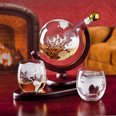 (PRE-SALE) Whisky Globe Decanter Set With Etched World Map - Wish Tricks