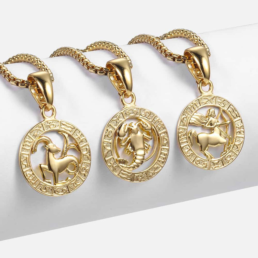 Zodiac Sign Unisex Necklace (Gold Filled) - Wish Tricks