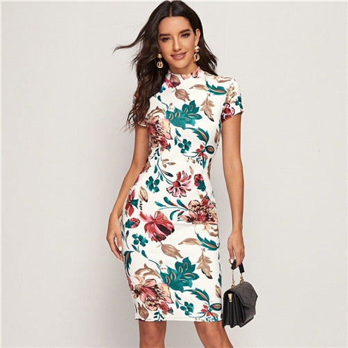 Multicolor Mock-Neck Fitted Floral Print Bodycon Pencil Midi Dresses