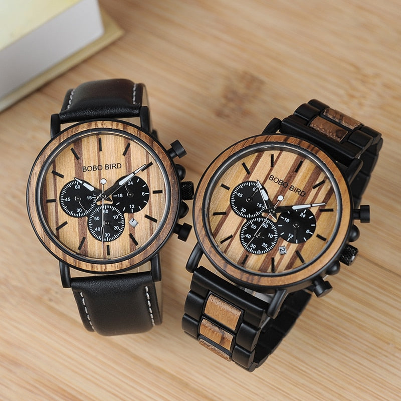 Chronograph Wooden Stainless Steel Wristwatch - Wish Tricks
