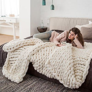 Chunky Knitted Blanket - Wish Tricks