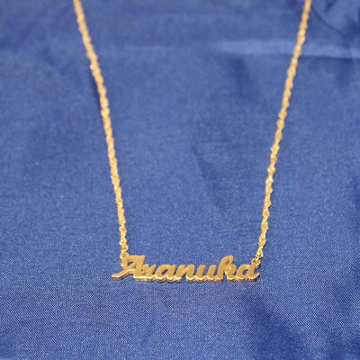 Twisted Design Personalized Name Necklace Gold - Wish Tricks