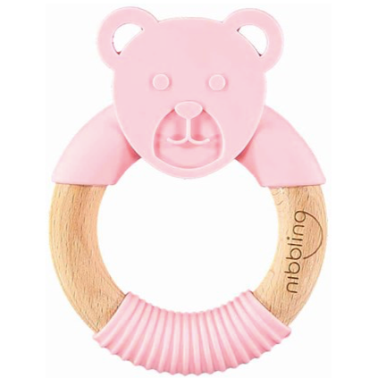 Nibbling Bear Teething Ring - Pink