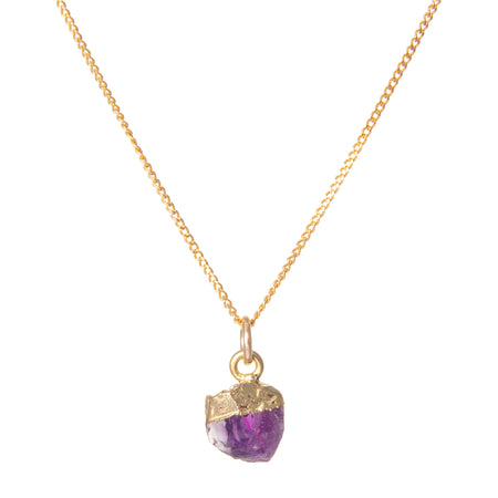 Decadorn Birthstone Pendant (Gold) - February Amethyst