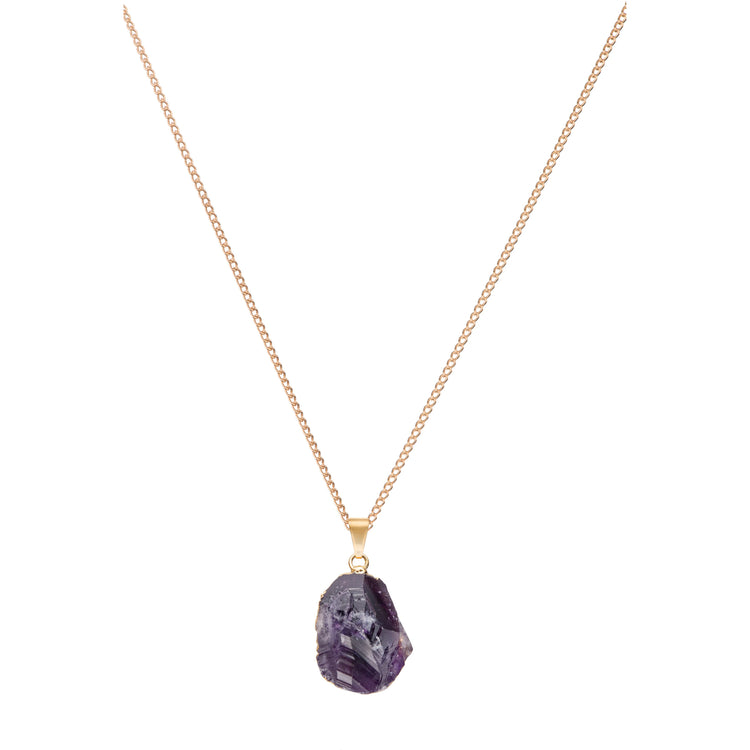 Decadorn Large Raw Cut Necklace - Amethyst