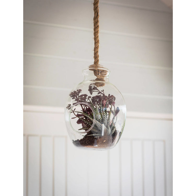 Soulstice Hanging Terrarium with Amethyst Crystal feature
