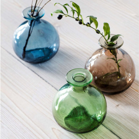 Recycled Glass Round Bud Vase